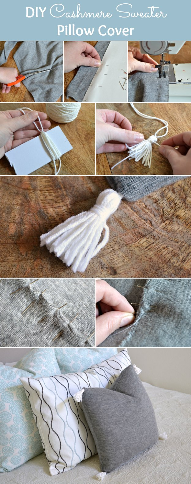 Step-by-step instructions for making a gorgeous DIY Cashmere Sweater Pillow Cover! | Hello Little Home #stylebymethod #clevermethod