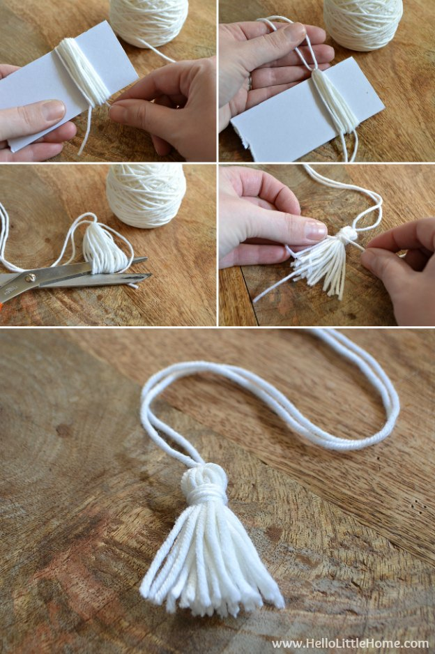 Step-by-step instructions for making a tassel to adorn a DIY Cashmere Sweater Pillow Cover! | Hello Little Home #stylebymethod #clevermethod