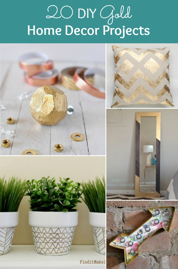 20 diy gold home decor projects for Home design diy ideas
