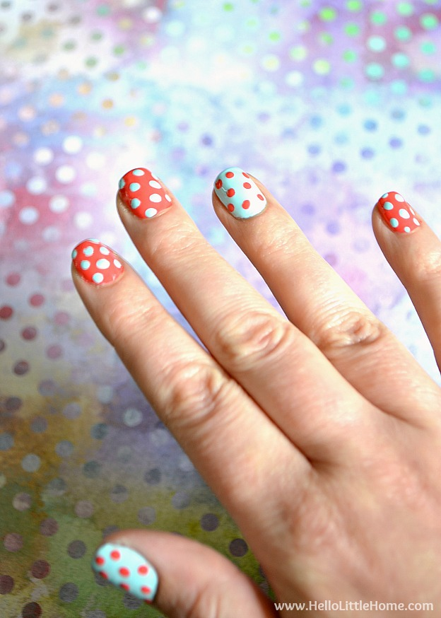 Easy Polka Dot Nail Art ... add a little fun to your manicure with this easy DIY technique! | Hello Little Home