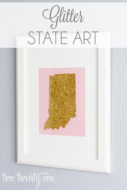 DIY Home Decor Projects: Glitter State Art | Hello Little Home #interiordesign #crafts
