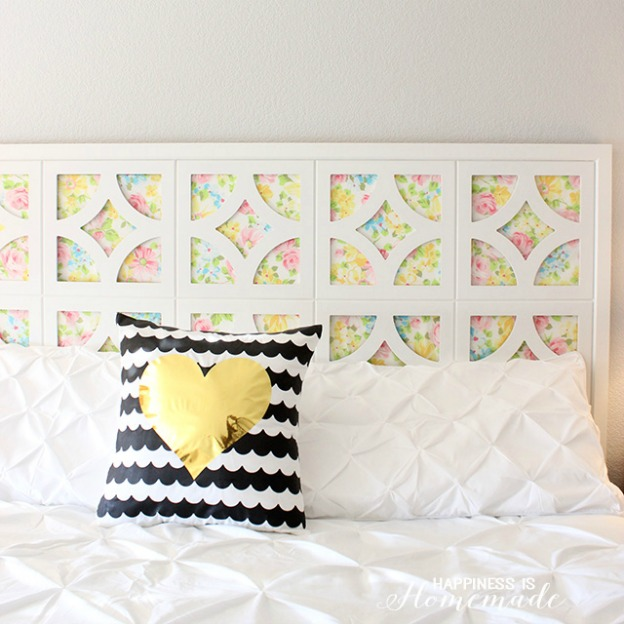 Spring DIY Projects: Headboard with Vintage Sheets from Happiness is Homemade | Hello Little Home