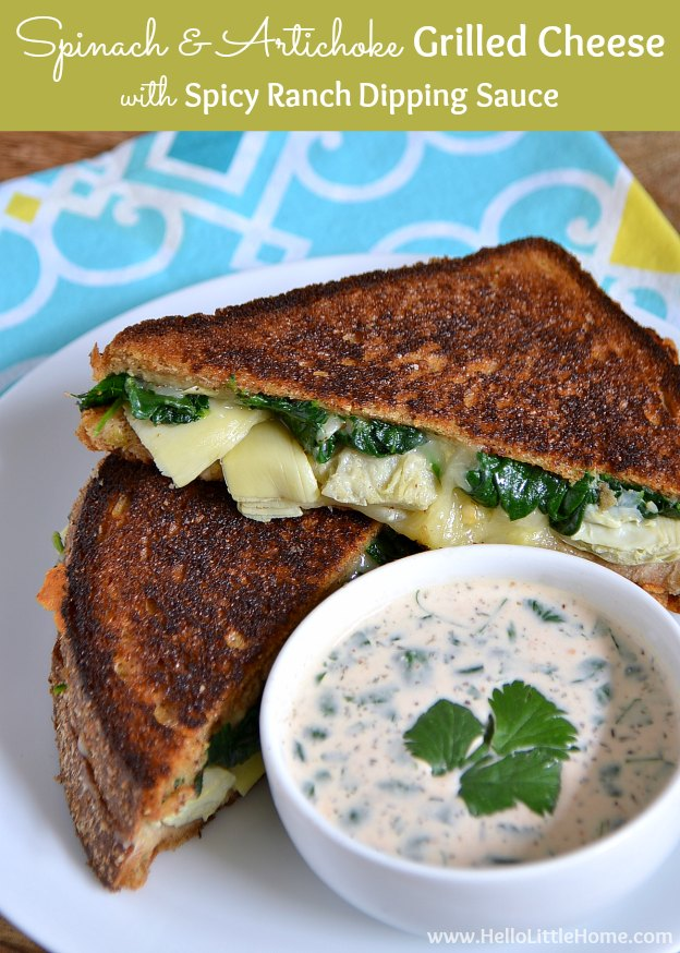 Treat yourself to this Spinach and Artichoke Grilled Cheese with Spicy Ranch Dipping Sauce!   Hello Little Home #sandwich #vegetarian #NationalGrilledCheeseMonth