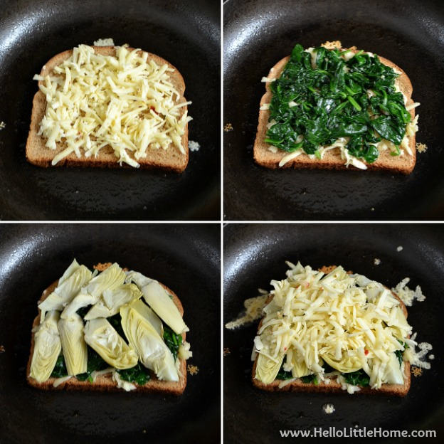 Assembling the spinach artichoke grilled cheese sandwich.