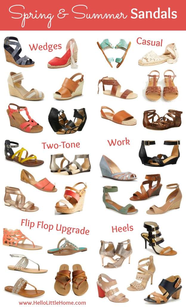 Get your Spring and Summer Sandals fix! There is a shoe here for everyone and every occasion! | Hello Little Home #Shoes #SpringStyle #SummerStyle