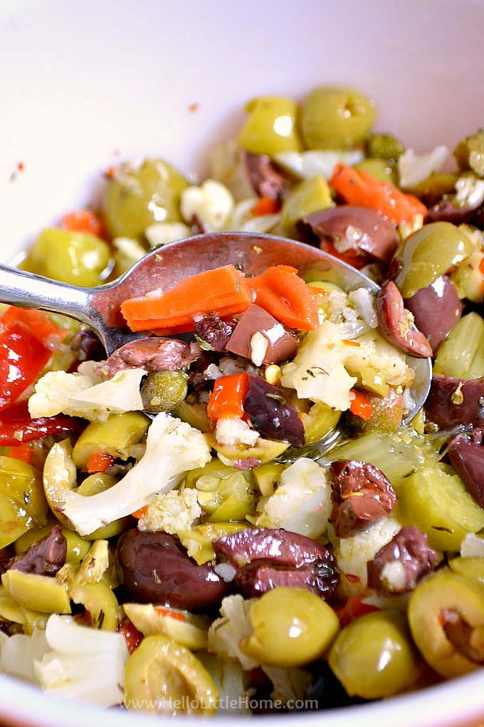 Homemade olive salad for a vegan friendly vegetable muffaletta sandwich.