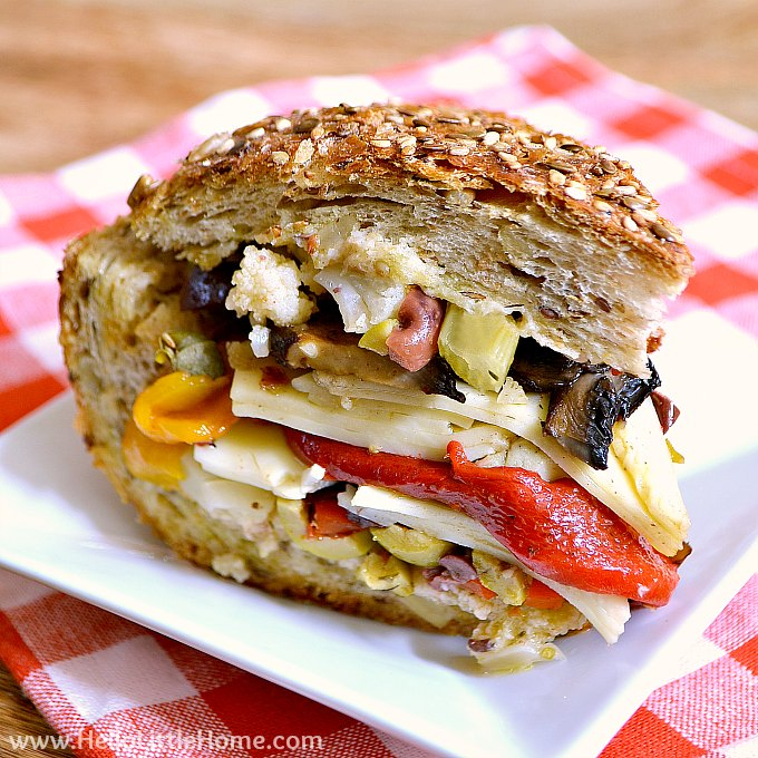 Vegetarian Muffaletta Sandwich on a plate.
