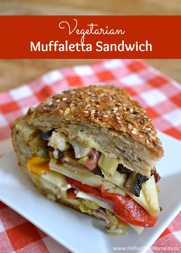 This Vegetarian Muffaletta Sandwich has all the amazing flavors of the original without any meat! | Hello Little Home