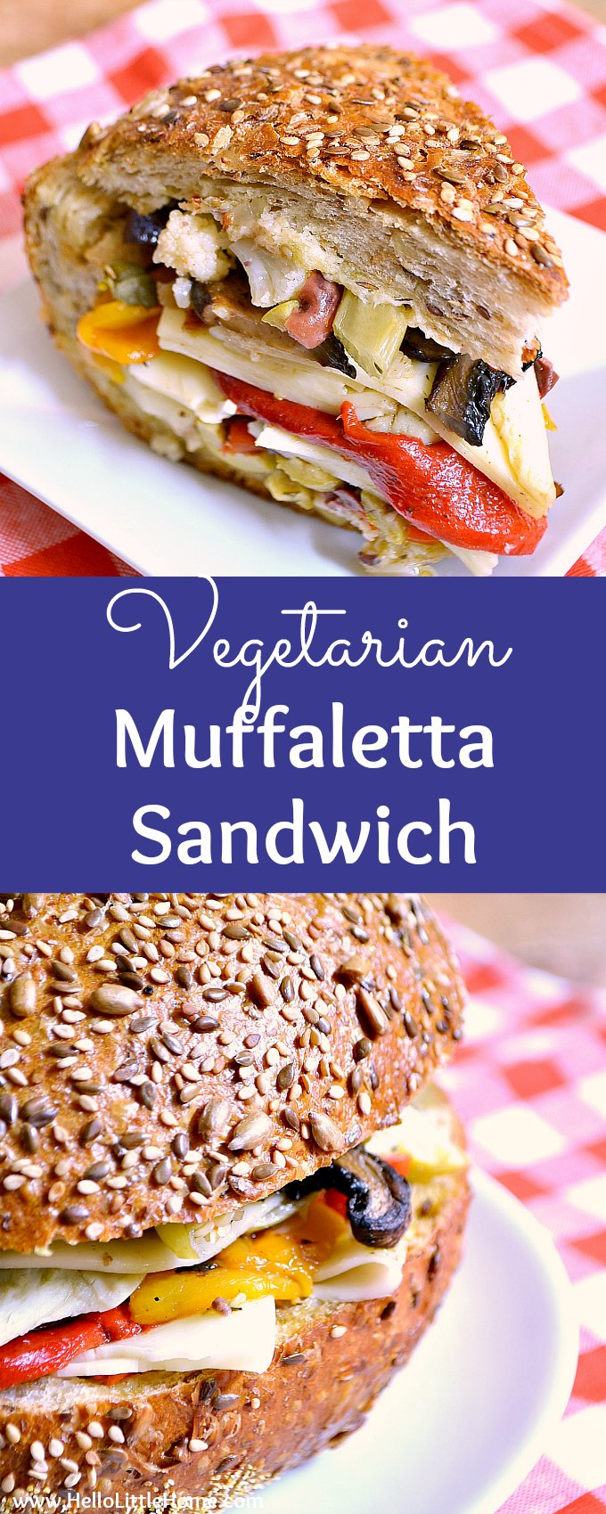 Vegetarian Muffaletta Sandwich recipe … learn how to make a New Orleans muffaletta just like the one you can get in the French Quarter at Central Bakery! This homemade muffaletta sandwich is perfect for a crowd or party, and features delicious Italian bread, a homemade olive salad, mushrooms, red peppers, artichokes, and provolone cheese! An easy muffaletta recipe that's vegan friendly! | Hello Little Home #muffalettarecipe #muffuletta #vegetarianrecipes #veganrecipes #vegetariansandwich