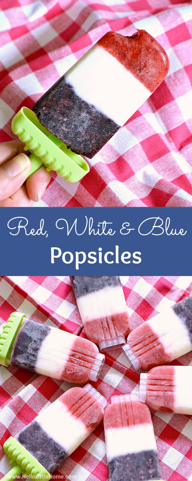 Easy Red, White, and Blue Popsicles recipe ... only 4, healthy ingredients! These festive popsicles are made from simple, healthy ingredients: yogurt (regular or vegan), sugar, strawberries, and blueberries! Perfect for the 4th of July, Memorial Day, any summer party, or simply a delicious treat! | Hello Little Home