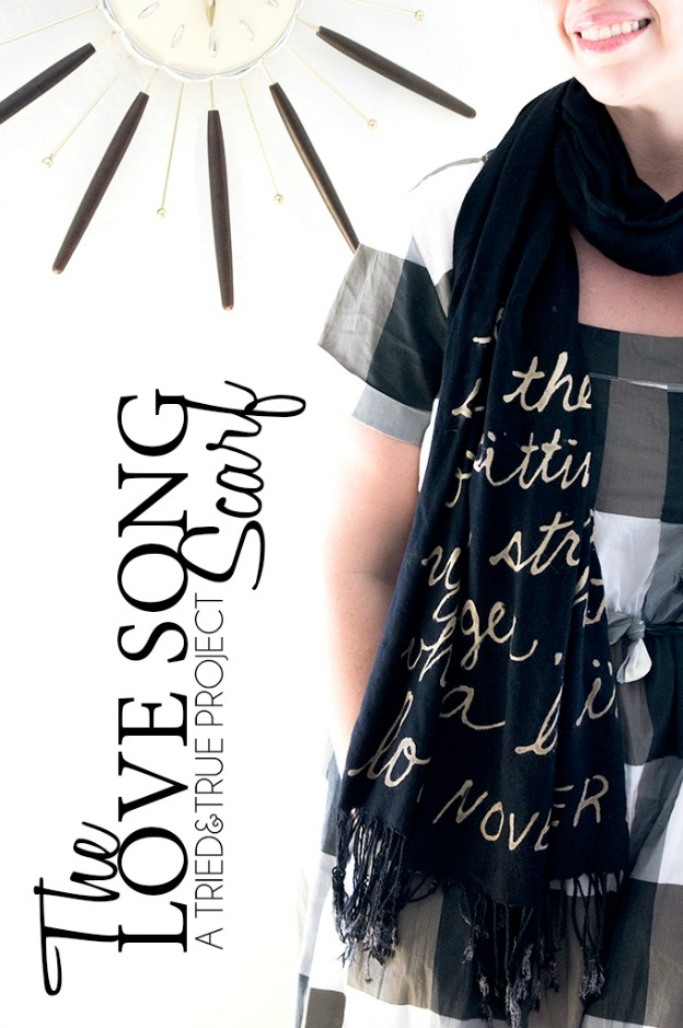 15 DIY Fashion Accessories You Can Make: Bleach Words Scarf from Tried & True | Hello Little Home