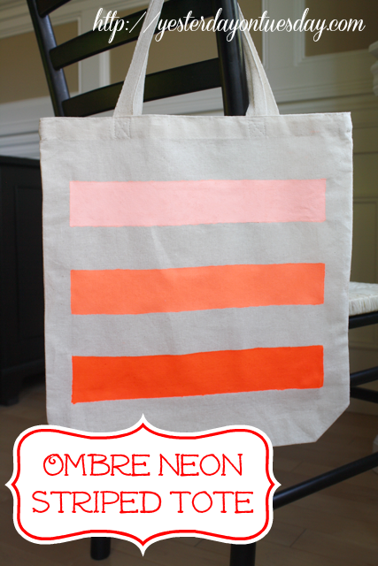 15 DIY Fashion Accessories You Can Make: Ombre Neon Striped Tote from Yesterday on Tuesday | Hello Little Home