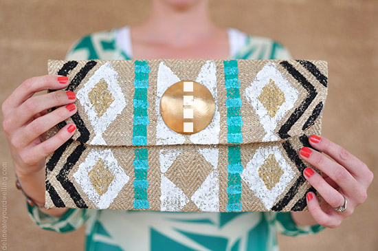 15 DIY Fashion Accessories You Can Make: Stamped Tribal Clutch | Hello Little Home