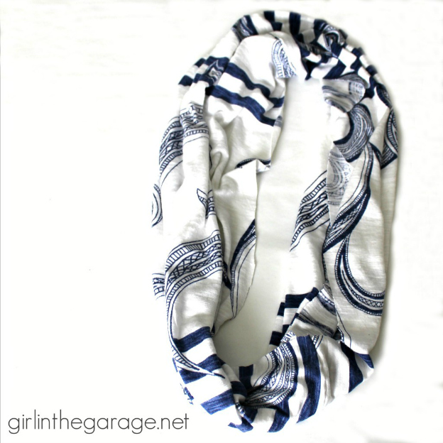 15 DIY Fashion Accessories You Can Make: T-Shirt Infinity Scarf from Girl in the Garage | Hello Little Home