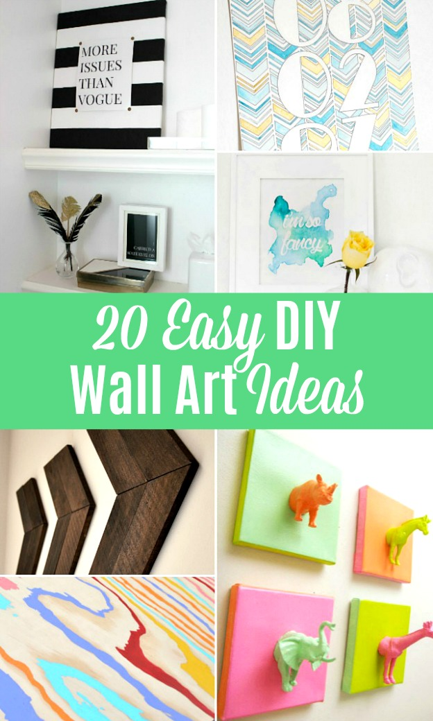 A collage showing different DIY Wall Art Ideas.