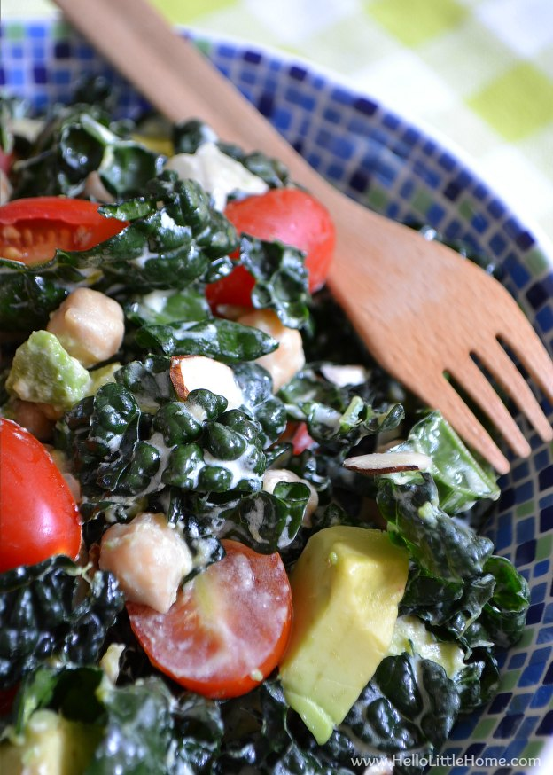 Easy Kale Salad with Creamy Lemon-Garlic Dressing ... one of 100 Vegetarian Game Day Recipes! Get ready for the big game with over 100 vegetarian and vegan appetizers, soups, chilis, main dishes, sandwiches, breakfast, desserts, and more that will make your next football watching party unforgettable! | Hello Little Home