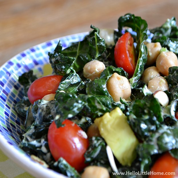 Kale Salad with Creamy Lemon-Garlic Dressing