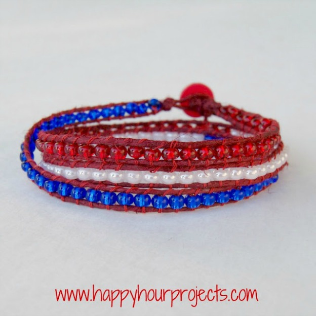 20+ Red, White, and Blue Projects for the 4th of July: Red, White, and Blue Wrap Bracelet from Happy Hour Projects | Hello Little Home #FourthOfJuly