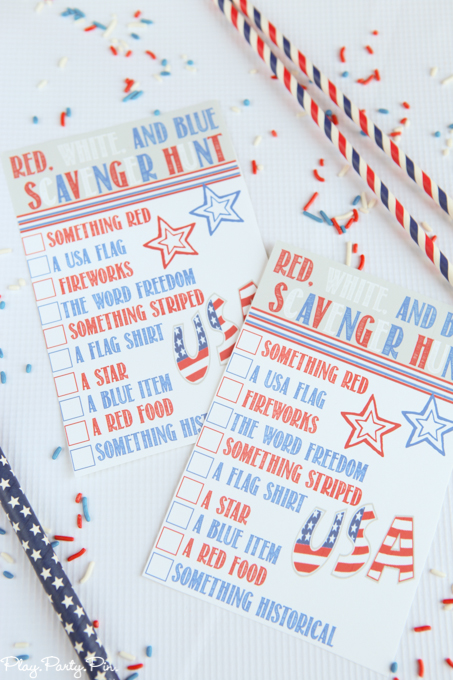 20+ Red, White, and Blue Projects for the 4th of July: Red, White, and Blue Scavenger Hunt from Play.Party.Pin. | Hello Little Home #FourthOfJuly