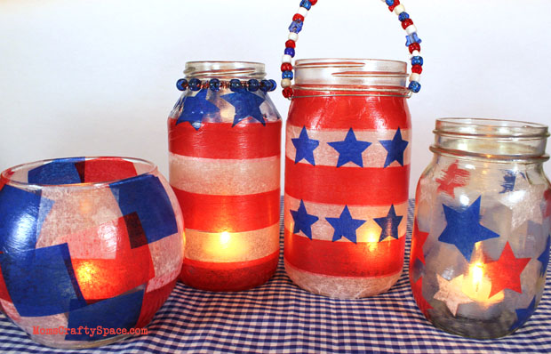 20+ Red, White, and Blue Projects for the 4th of July: Red, White, and Blue Lanterns from Happiness is Homemade | Hello Little Home #FourthOfJuly