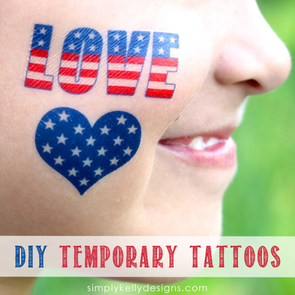20+ Red, White, and Blue Projects for the 4th of July: DIY Temporary Tattoos from Simply Kelly Designs | Hello Little Home #FourthOfJuly