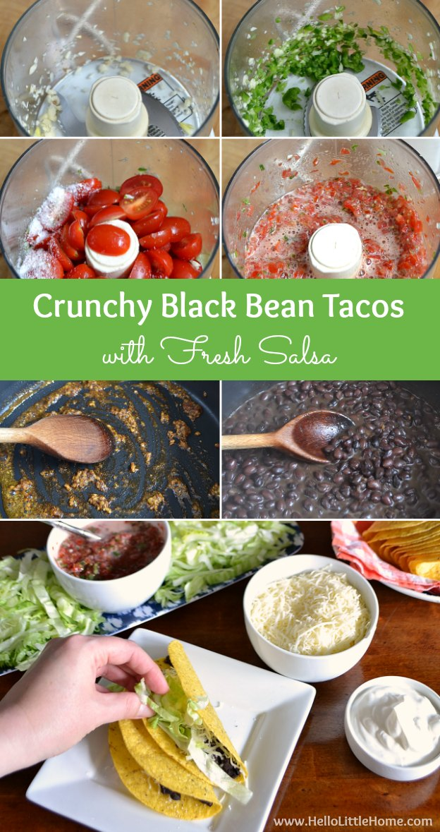 These Crunchy Black Bean Tacos with Fresh Salsa are delicious and easy to make ... the perfect week night meal! | Hello Little Home #Mexican #vegetarian