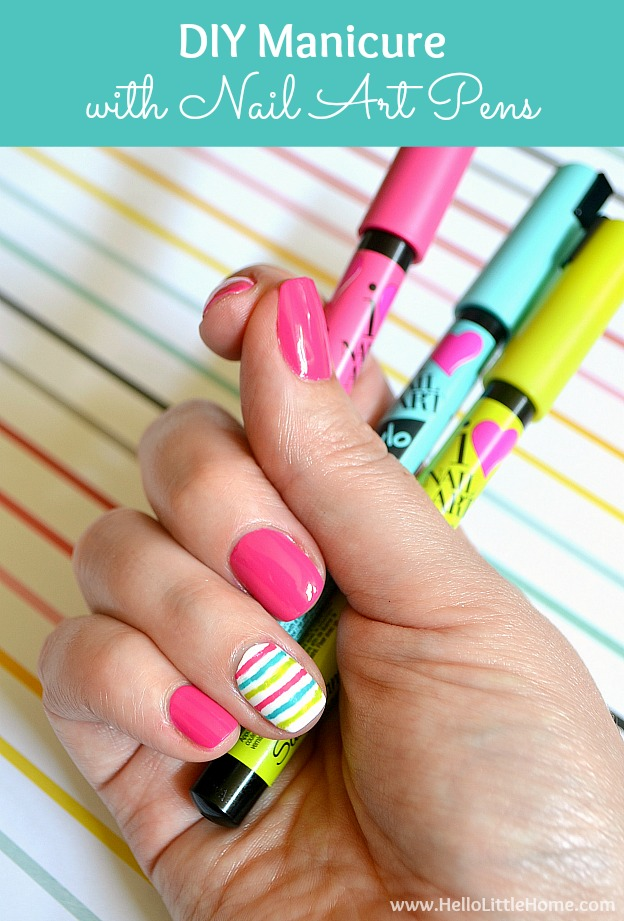 DIY Manicure with Nail Art Pens! Brighten up your fingers with this fun DIY striped nail art ... it's so easy with these nail polish pens! | Hello Little Home