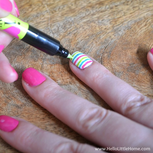 DIY Manicure with Nail Art: Applying Stripes. | Hello Little Home