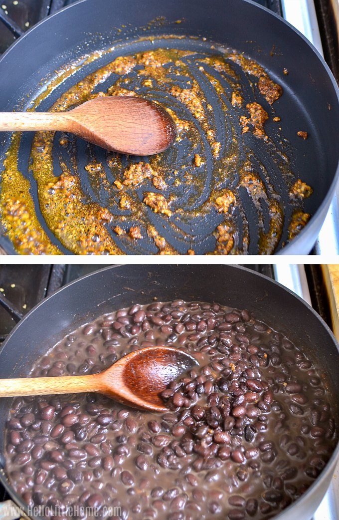 Making vegan black beans for tacos.