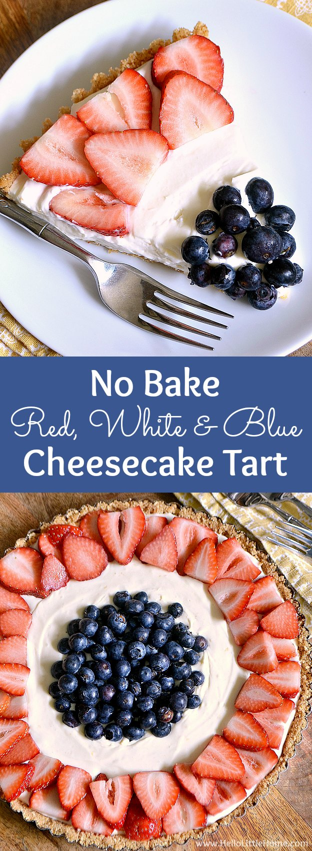 No Bake Red, White, and Blue Cheesecake Tart ... perfect for every summer party! This easy no bake cheesecake recipe is lightly flavored with lemon, made with a simple graham cracker crust, and topped with fresh strawberries and blueberries. An easy patriotic dessert recipe that's perfect for any summer holiday, like 4th of July and Memorial Day! | Hello Little Home