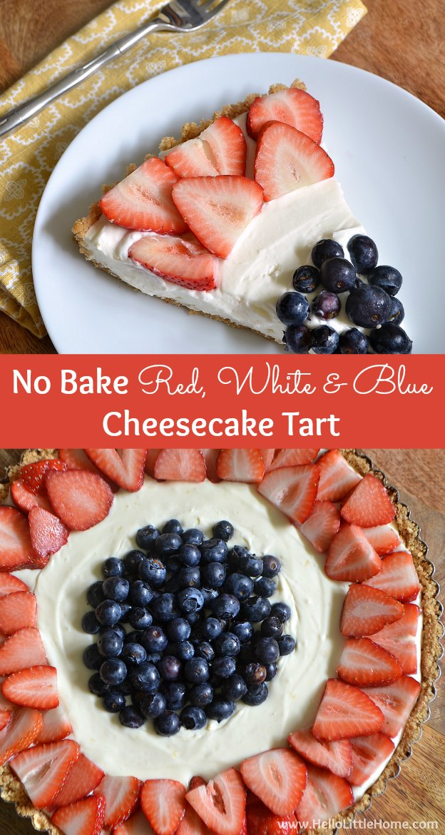 This easy-to-make No Bake Red, White, and Blue Cheesecake is the perfect treat on a hot summer day! | Hello Little Home