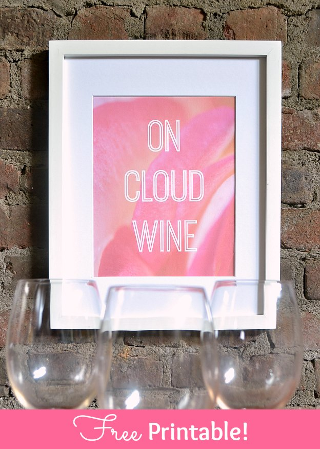 On Cloud Wine free printable art! Celebrate your love of wine with this cute free art print. It's perfect on its own or as part of a gallery wall! | Hello Little Home