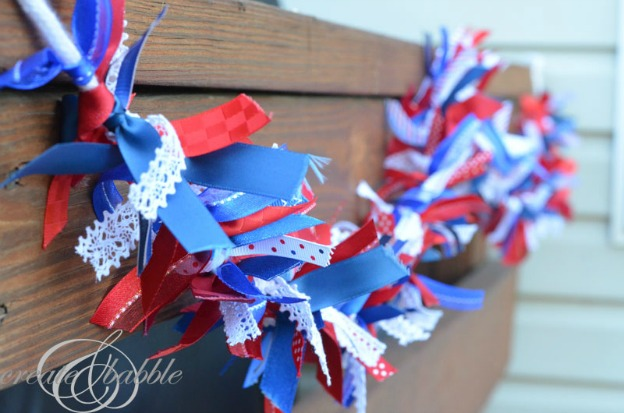 20+ Red, White, and Blue Projects for the 4th of July: Red, White, and Blue Ribbon Garland from Create & Babble | Hello Little Home #FourthOfJuly