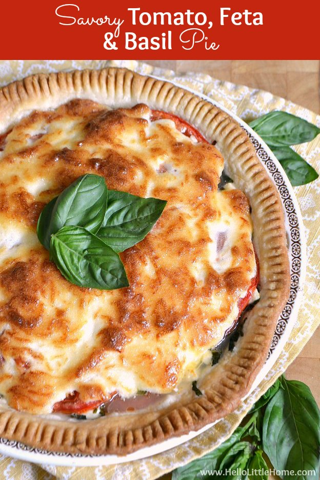 This Savory Tomato, Feta, and Basil Pie is a delicious twist on the ...