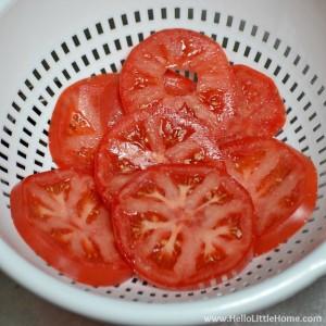 Preparing tomatoes for a Savory Tomato, Feta, and Basil Pie! | Hello Little Home #NikosFeta #WaveOfFlavor #HFWF15