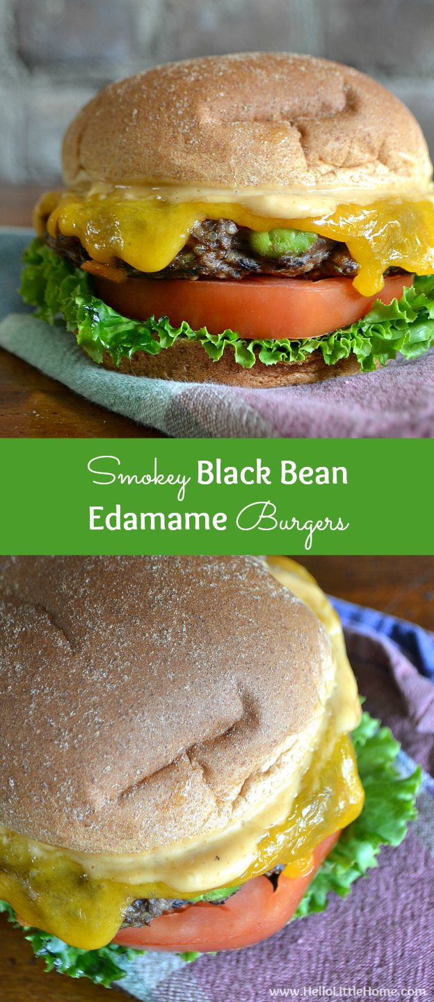 These Smokey Black Bean Edamame Burgers are the perfect addition to your summer barbeque! | Hello Little Home