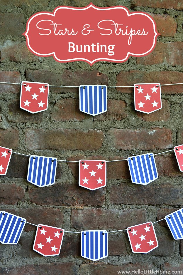 20+ Red, White, and Blue Projects for the 4th of July: Stars and Stripes Bunting with Free Printable | Hello Little Home #FourthOfJuly