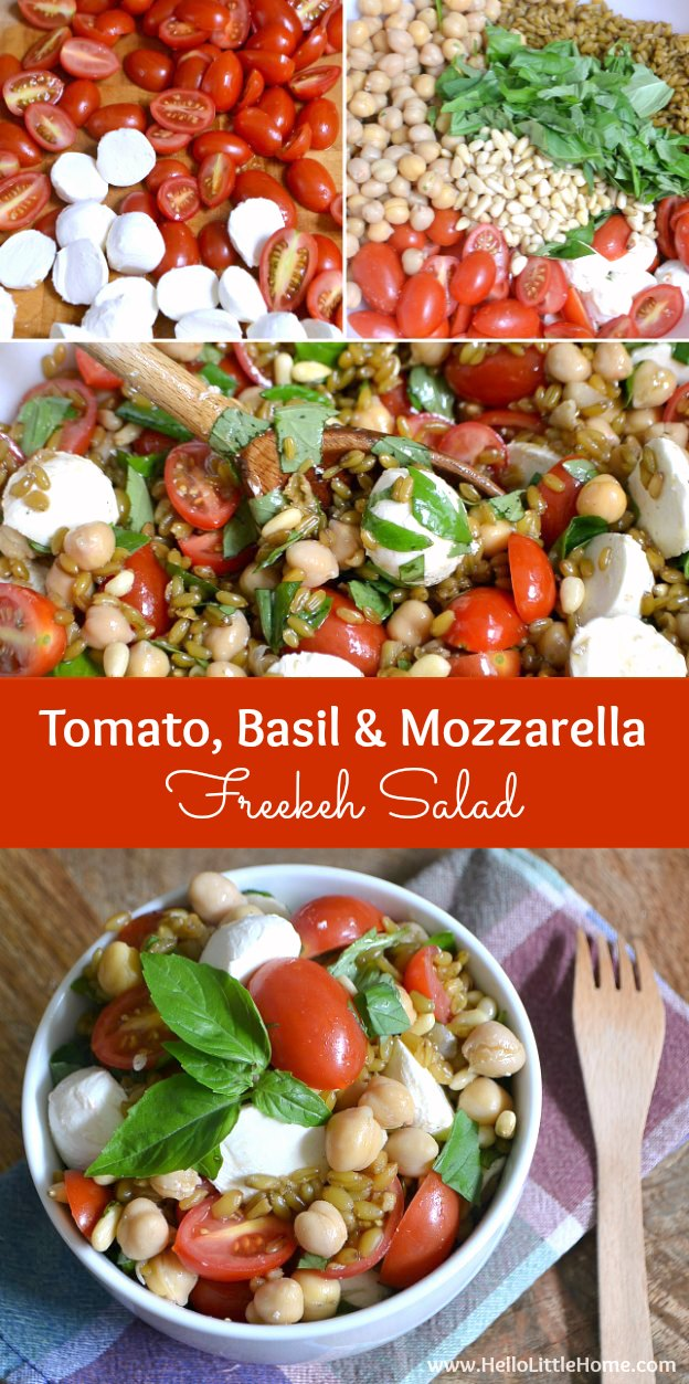This Tomato, Basil, and Mozzarella Freekeh Salad is super healthy and full of fresh summer flavors! Serve it as a delicious vegetarian main dish or side. | Hello Little Home