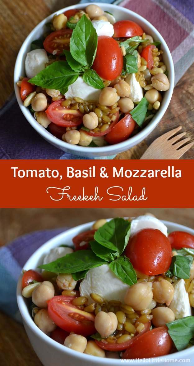 This Tomato, Basil, and Mozzarella Freekeh Salad is super healthy and full of fresh summer flavors!   Hello Little Home