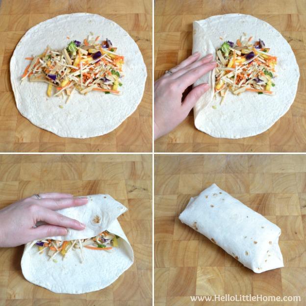 Folding Crunchy Veggie Wraps.