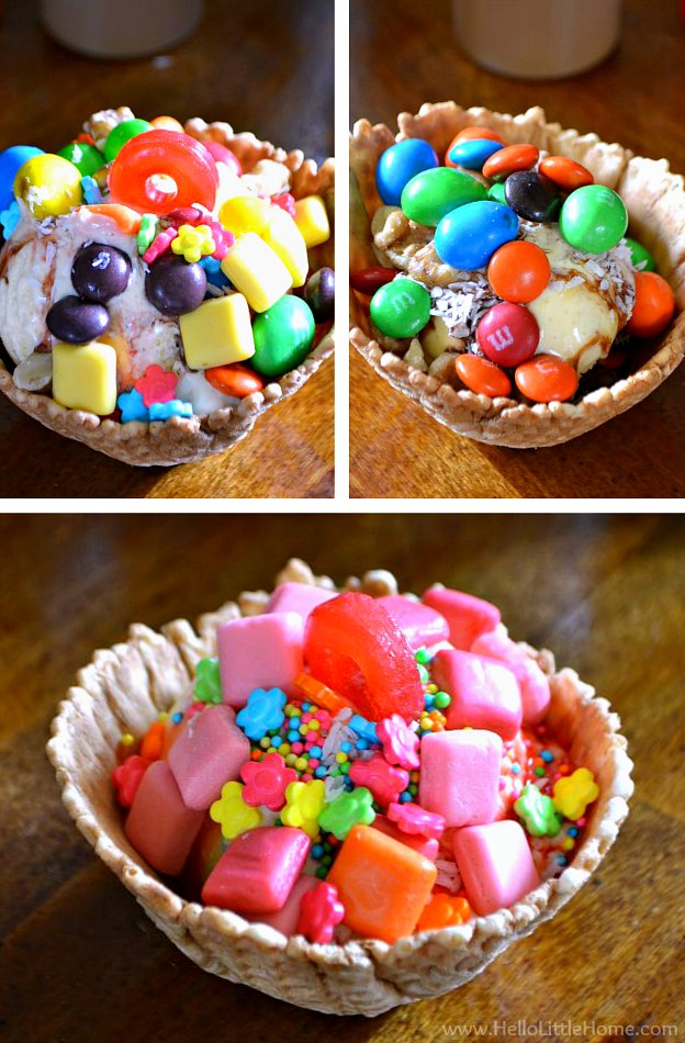 Collage of three different sundae topping ideas.