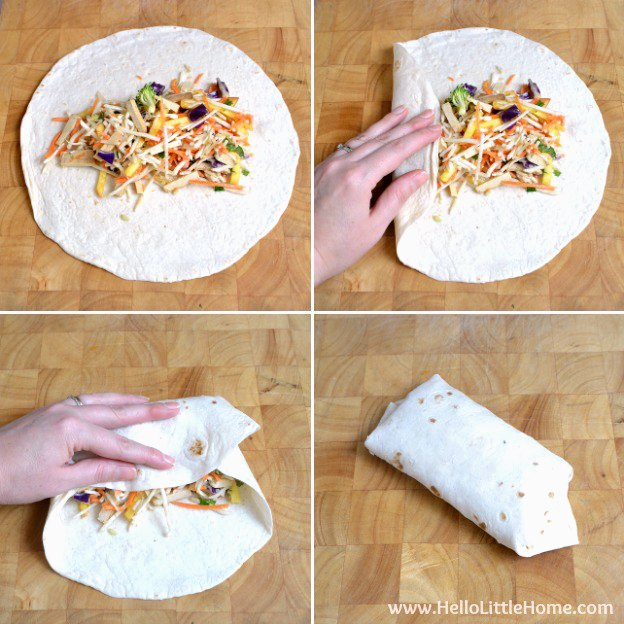 Photo collage showing how to fold the wrap tortilla.