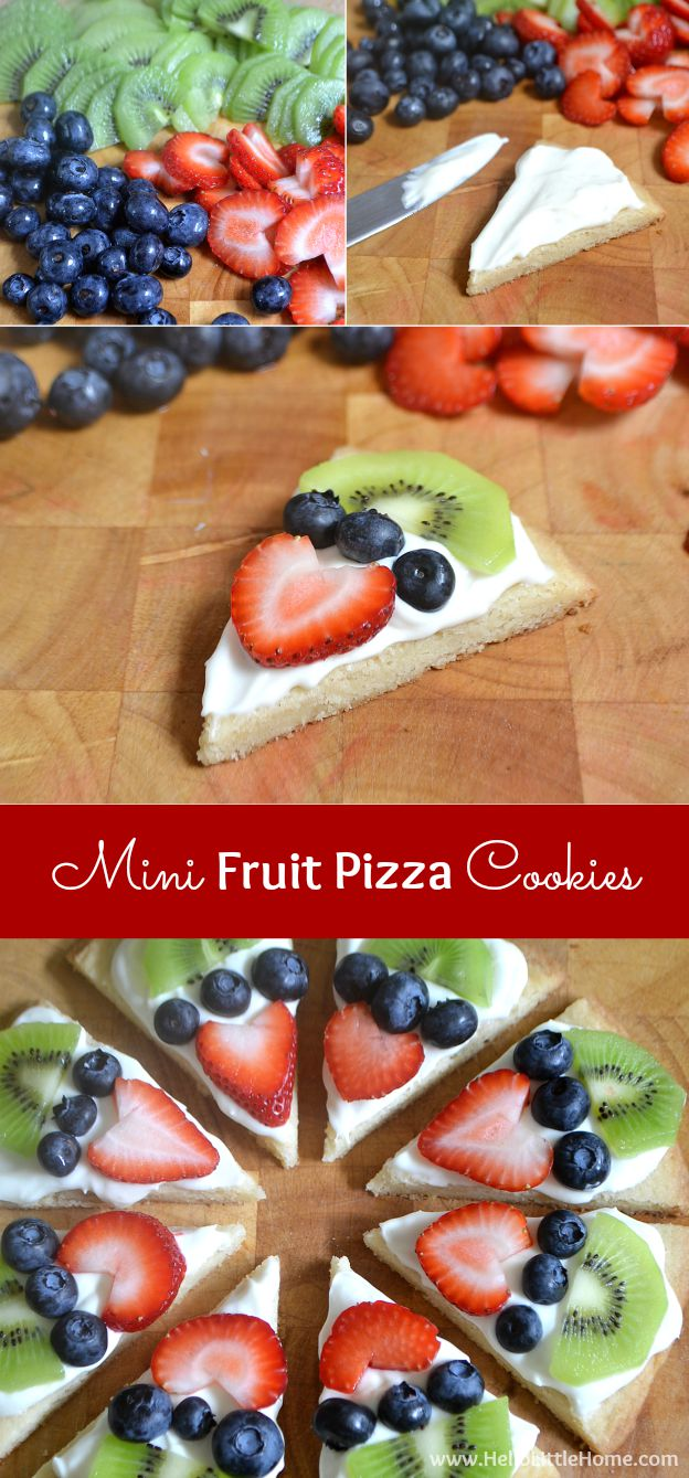 Step by step directions for making Mini Fruit Pizza Cookies! | Hello Little Home