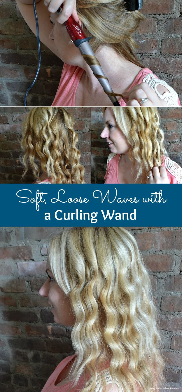 An easy, step-by-step tutorial for getting soft, loose waves with a curling wand!   Hello Little Home #hairstyle