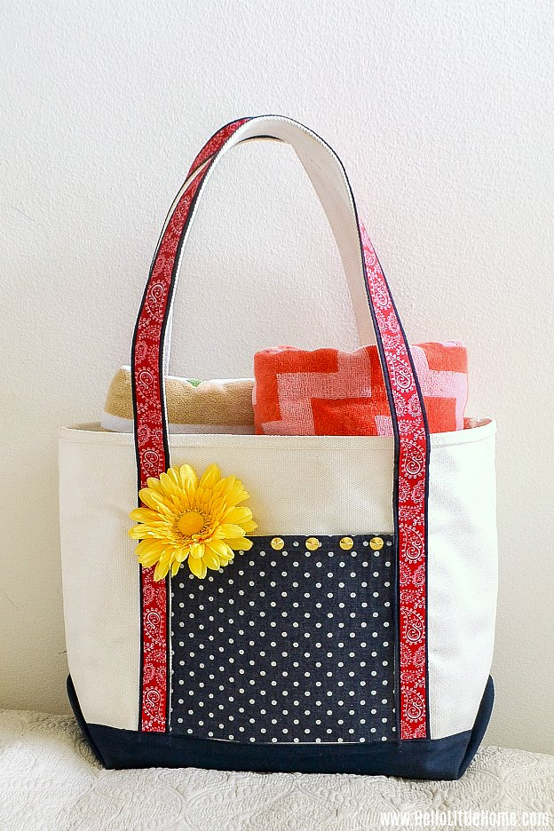 A fun, no sew tote bag craft - decorate a plain canvas tote with fabric, ribbon, and more.