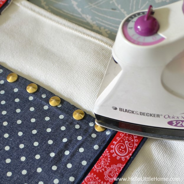 Ironing on studs for a tote bag makeover! | Hello Little Home