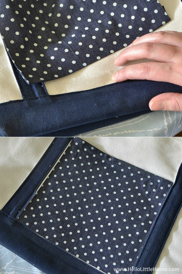 Attaching fabric for a tote bag makeover! | Hello Little Home