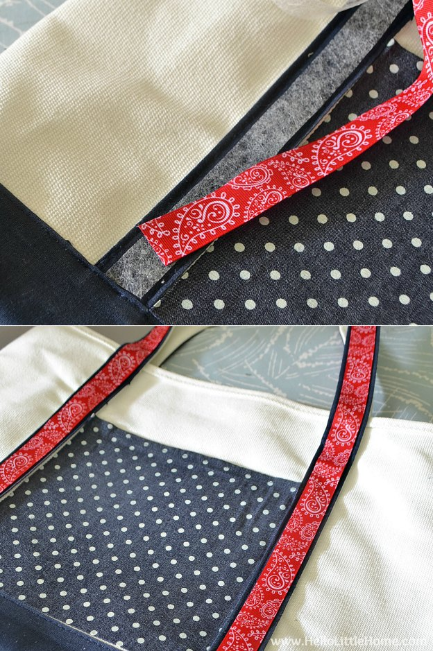 Decorating straps for a tote bag makeover! | Hello Little Home