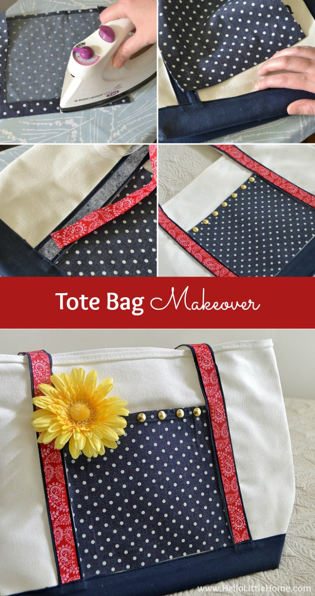 Give all those promotional bags your collect a tote bag makeover! | Hello Little Home
