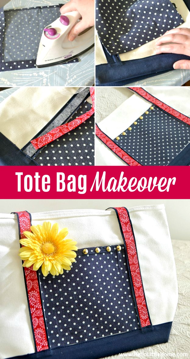 Fun Tote Bag Makeover, an easy Tote Bag Craft that's the perfect way to upcycle a promotional tote or decorate a plain tote bag. This DIY Tote Bag Craft for kids or adults is a simple, no sew idea that's customizable. Decorate a canvas Tote Bag with colorful fabrics, ribbons, iron studs, tapes + more. Great DIY gift idea (fill with something fun!) for weddings, baby or bridal showers, Mother's Day. | Hello Little Home #diy #diygift #totebagcraft #totebagmakeover #craft #craftsforkids #craftidea
